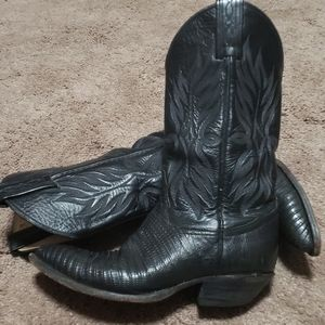 Tony lama vintage black cowboy boots leather